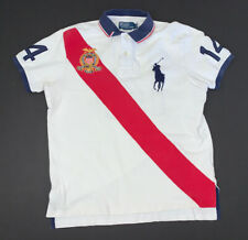 Men's Polo Ralph Lauren Polo Shirt Size Large Big Pony USA White Red Blue