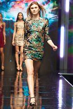 Ladies Embellished Flroal Print 3/4 Sleeve Evening Dress Size 08 Green