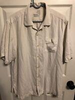 Men's TOMMY BAHAMA Short Sleeve 100% Silk Cream Button Down Shirt Size M