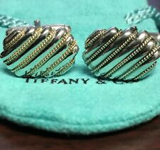 Tiffany & Co Sterling Silver 18K Gold Rope Cuff Links Cufflinks Vintage Rare