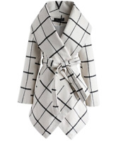 Chicwish Womens Shawl Collar Asymmetric Off-White Wool Blend Coat Large New NWT