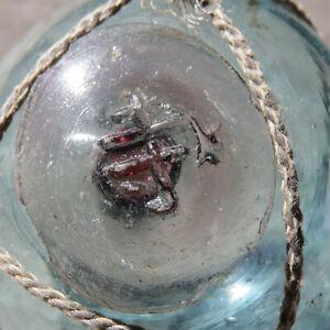 "Japanese Blown Glass Float 2"" Aqua Body Pale Cranberry Seal Button WP #248 Vntg"