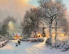 WINTER SCENE CANVAS  snow christmas print 20 inch x 30 inch stretched over frame