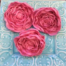 1 CREPE SATIN PINK PEONY FLOWER - 11 cm embellishment wedding flowers