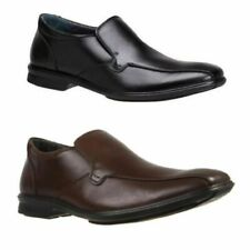 Mens Hush Puppies Cahill Extra Wide Black Brown Leather Work Slip On Shoes