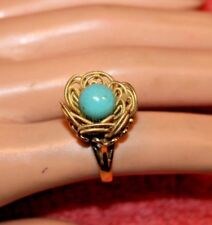 VTG 18k Yellow Gold Ring Bright Blue Turquoise Bead Center Size 5 1/4