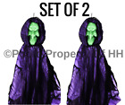 """*SET OF 2* POSEABLE HALLOWEEN HANGING WITCH MONSTER GHOST REAPER 36"""" PARTY PROP"""