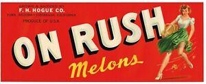 ORIGINAL CRATE LABEL VINTAGE PIN UP SKIRT ON RUSH MELONS ARIZONA GIRL SEXY C1940