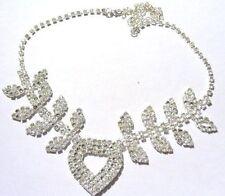 collier bijou style ancien couleur argent cristaux diamants coeur brille * 4839
