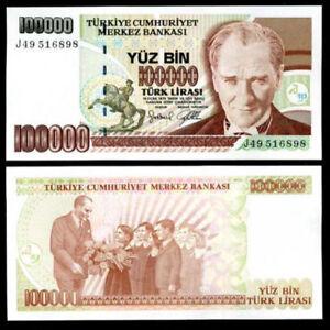 TURKEY 100000 LIRASI LIRA 1997 P 206 UNC
