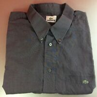 Lacoste Extra-Large XL (44) Grey Solid Short Sleeved Shirt Green Logo Genuine