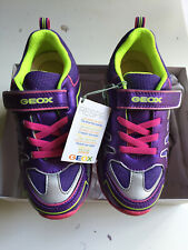 New GEOX LITTLE GIRL BERNIE SHOES SNEAKERS FUCHSIA & VIOLET, US 12, EUR 30 NIB