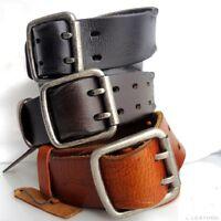 Genuine vintage Leather belt 43 mm Waist handmade classic retro size M brown new