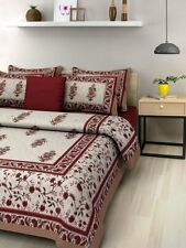 Cotton Jaipuri Traditional King Size 1 Double Bedsheet with Pillow Cover