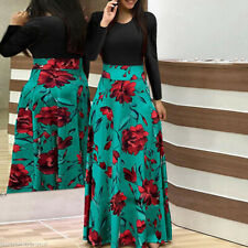 Fashion Womens Party Evening Boho Floral Holiday Long Sleeve Cocktail Maxi Dress