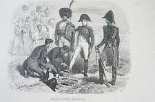 Libro di stampa pagina Napoleone blesse a Ratisbonne Haque (n156)