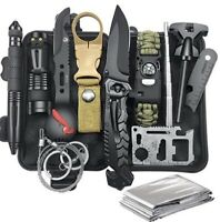 Survival Gear Kits 13 in 1 Outdoor Emergency SOS Survive Tool for Wilderness T
