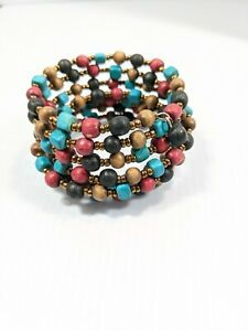 Blue Red Black Brown Round Wood Bead Memory Wire Wrap Bracelet Tribal Style