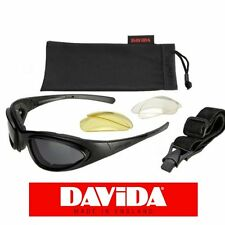 Davida Motorcycle Goggles Sunglasses Interchangeable Lenses & Strap Cased