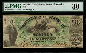 T-17 $20 1861 Confederate Currency CSA Civil War - Graded PMG 30 Very Fine