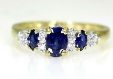 Pretty Sapphire & Diamond Cluster 9ct Yellow Gold ring size O 1/2 ~ 7 1/2