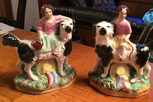 """Antique Staffordshire Pair Girls On Large Spaniel Dogs 5 1/2"""" Tall Marked 182"""