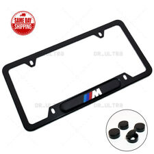 For BMW M Power Sport Front Rear License Frame Plate Cover Black Stainless Steel