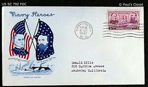 "US SC 792 FDC WITH CACHET ""NAVY HEROES"" 18 FEB 1937 3¢ ADM FARRAGUT & PORTER VF"