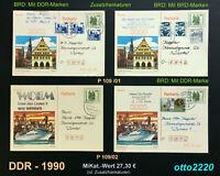 DDR, 1990, Ganzsachen, MiNr. P 109/01, P 109/02, gestempelt; Nutzungsvariant