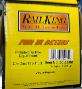 MTH 30-50101 Rail King O/O-27 Die-Cast Fire Truck - Philadelphia Fire Dept.