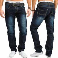 Herren Jeans Hose Regular Fit Übergöße Jeans Blau Verwaschen Baumwolle W34 - W44