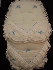 BEAUTIFUL. PRAM  COSYTOES  / FOOTMUFF  COLOUR  WHITE  /  BABY  BLUE  BOWS