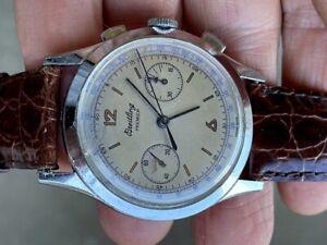 RARE 1950's BREITLING 789 Chronograph 38mm VENUS 175 ORIGINAL MILITARY DIAL RUNS