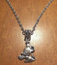 collier chaine argenté 47 cm avec pendentif souris love 20x18 mm