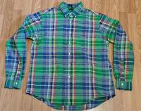 Ralph Lauren Mens XL Plaid Button Down Custom Fit Shirt Blue Green Red