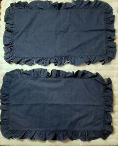 Ralph Lauren Polo King Size Denim Ruffle Pillow Shams Ruffles Dark Jean