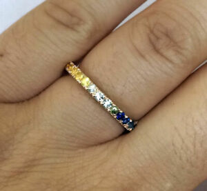R122 Genuine 9K or 18K Gold Natural Rainbow Sapphire Full Eternity Wedding Ring