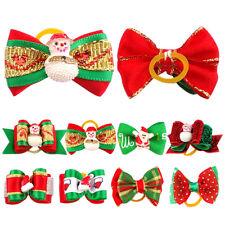 20/40/60/80/100Pcs Christmas Bowknots Dog Hair Bows Rubber Bands Dog Grooming