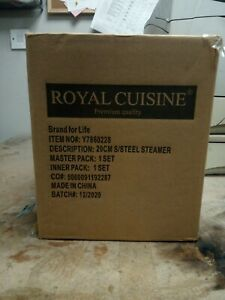 Royal Cuisine 20cm Stainless Steel Steamer With Glass Lid