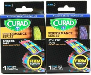 2 Curad Performance Series 1.5 In X 10 Yds Plaid Firm Support 1 Ct Athletic Tape