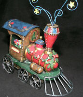 Christmas Santa Claus in Train Engine Large Tin Work Decoration Collectible Mint