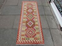 Kilim Vintage Traditional Hand Made Oriental Red Short Kilim Runner 200x75cm