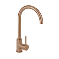 Brushed brass gold stainless steel square neck kitchen mixer tap NO LEAD
