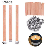 100PCS Holzdocht Holz Docht mit Halter Kerzen Docht Geschenk DIY Deko 9cmx0.8cm