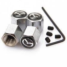 Mazda Negro Antirrobo De Metal Cromado Neumático Válvula Polvo Tapa
