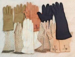 Vintage Lot 7 Pairs Ladies Dressy Gloves Beaded, Sparkle, Black, White, Gold