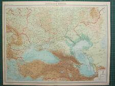 1921 grande carte ~ le sud de la russie ~ bulgarie constantinople asie mineure arménie