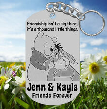 Pooh & Eeyore BEST FRIENDS Keychain Gift, Personalized w' NAMES! Cute Gift