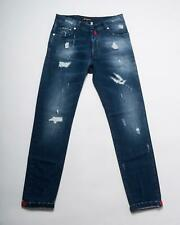 Kiton NWT Medium Blue Distressed Slim Stretch Selvedge Denim Jeans 33
