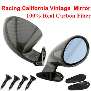 2PCS Universal F1 Style Car Racing Rearview Side Wing Mirrors Real Carbon Fiber